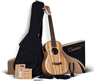 Caramel 30 inch CB103 Zebra wood High Gloss Baritone LCD color display Electric Ukulele Professional Ukelele Kit Beginner Travel Guitar Starter Pack Bundle, Padded Gig Bag, Strap and Wall mount Set