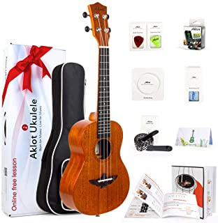 Ukulele Uke With Free Online Course 8 Packs Beginner Starter Kit (Gig Bag Picks Tuner Strap String Cleaning Cloth Instruct...