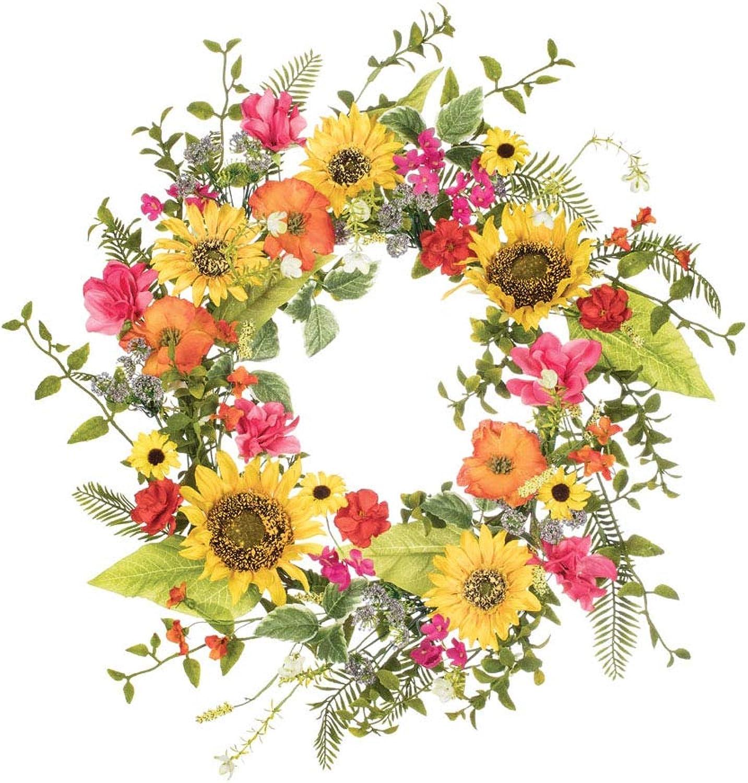 Artificial Sunflower, Primpink, Daisy Wreath, 24