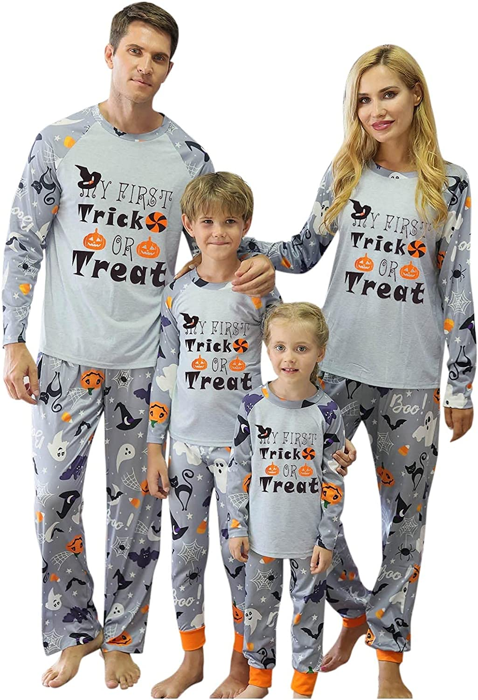 Halloween Printed Letter Top Pants Xmas Family Clothes Pajamas Mens,Womens Pajamas Sleepwear Set