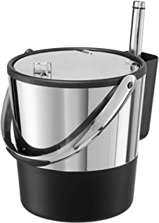 Oggi Double-Wall Stainless Steel/Black Insulated Lid & Ice Scoop Ice Bucket, 4 Quart / 3.8 L