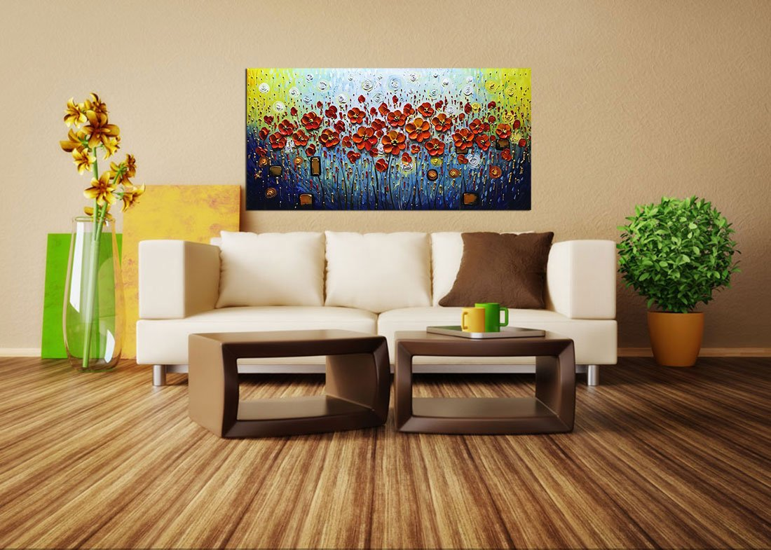 V-inspire Abstract Paintings, 24x48 Inch 3D Abstract Paintings Modern Textured Red Flower Oil Hand Painting On Canvas Wood Inside Framed Ready to Hang Wall Decoration for Living Room Home Kitchen