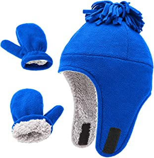 Kids Hat and Gloves Set for Boys Girls Warm Polar Fleece Earflap Beanie Hat Cold Weather Accessory RoyalBlue