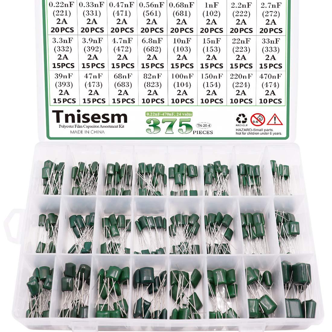 Tnisesm 375 Pcs 24 Value Metalized Mylar Polyester Film Capacito