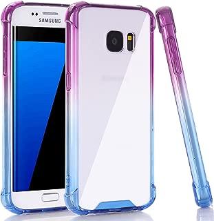 BAISRKE Clear Gradient Galaxy S7 Edge Case, Shock Absorption Flexible TPU Soft Bumper Anti-Scratch Rigid Slim Protective Cases Hard Plastic Back Cover for Samsung Galaxy S7 Edge - Blue Purple