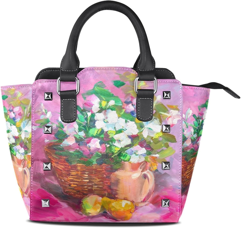 My Little Nest Women's Top Handle Satchel Handbag Oil Painting Flowers Basket Ladies PU Leather Shoulder Bag Crossbody Bag