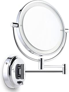 Miusco 7X Magnifying Lighted Makeup Mirror, Wall Mount, 8 inch Two Sided White Daylight LED Shadow Free LED Bathroom Vanity Mirror, Chrome