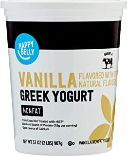 Amazon Brand - Happy Belly Greek Non-Fat Vanilla Yogurt, 32 Ounce