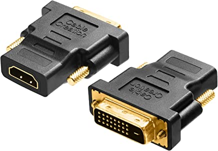 CableCreation DVI to HDMI, [2-Pack] Gold-Plated DVI to HDMI Adapter, Male to Female Converter