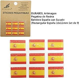 Pegatina de Resina Bandera España con Escudo Rectangular España 16x11mm, 9 uds: Amazon.es: Coche y moto