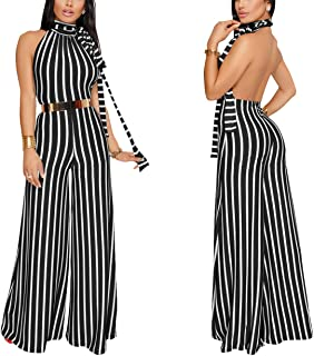 YSJERA Women's Striped Sexy Jumpsuits Halter Backless Wide Leg Long Palazzo Pants Rompers