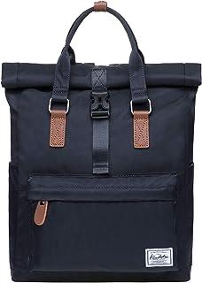 KAUKKO Rolltop Rucksack Einfacher und Unisex Daypack Handtasche für Schul Reisen für 12 Zoll Notebook,28  11  40cm/ 13L SchwarzK1047