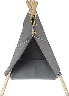 MYANIMALY Tält för katter trähatt, säte: 40 cm x 40 cm, tältets höjd: 72 cm, tipitält för katter, kattsäng,
