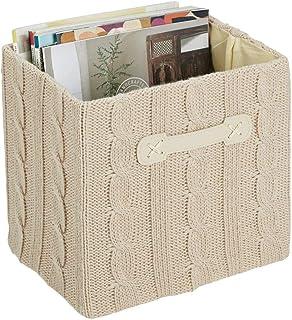 mDesign bac de rangement avec poignée – panier de rangement de taille moyenne en polyester tricoté – boite de rangement ti...