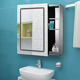 Taltintoo20 Morden LED Light 36 Watts Mirrored Medicine Cabinet Bathroom Storage with Sliding Door 30 inches, Size 29.9 x 20.9 x 5.1 inches, Ideal for Bathrooms and Any Living Space, Silver