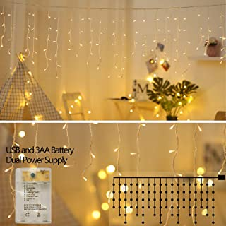 XDlight 10 ft 90 LED Icicle Lights,Window Curtain Lights with 8 Modes Powerd by Battery and USB,Waterproof Fairy String Light for Indoor & Outdoor,Holiday,Party,Curtain with White Wire(Warm White)