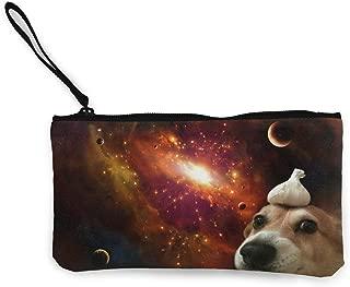 Wristlet Clutch Wallet, Cute Space Garlic Dog Canvas Coin Purse Handbag