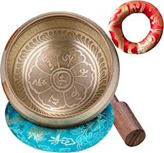 CAHAYA Singing Bowl Tibetan Set Meditation Sound Bowl 3.7 Inches with 2 Cushions, 1 Mallet Lead-Free for Yoga, Deep Relaxa...