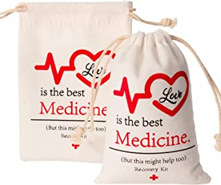 Crisky Hangover Kit Bags, Recovery Kit Bags, Bachelorette Party Decorations Love is The Best Medicine 10 pcs, 4