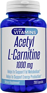 Acetyl L-Carnitine 1000mg (Non GMO & Gluten Free) 200 Capsules - 100 Day Supply - Acetyl l carnitine Supplement Helps Support Natural Energy, Cognitive and Nervous System