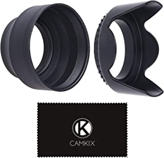 55mm Set of 2 Camera Lens Hoods and 1 Lens Cap - Rubber (Collapsible) + Tulip Flower - Sun Shade/Shield - Reduces Lens Fla...