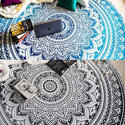 Set mit 2 r&en Ombre-Mandala-Wandteppichen, Hippie-/indisches Mandala-Design, Picknick-Tischdecke, Hippie-/Boho-/-Baumwoll-Tischdecke, Strandtuch, Meditations-/Yoga-Matte – 72, schwarz/grau & blau