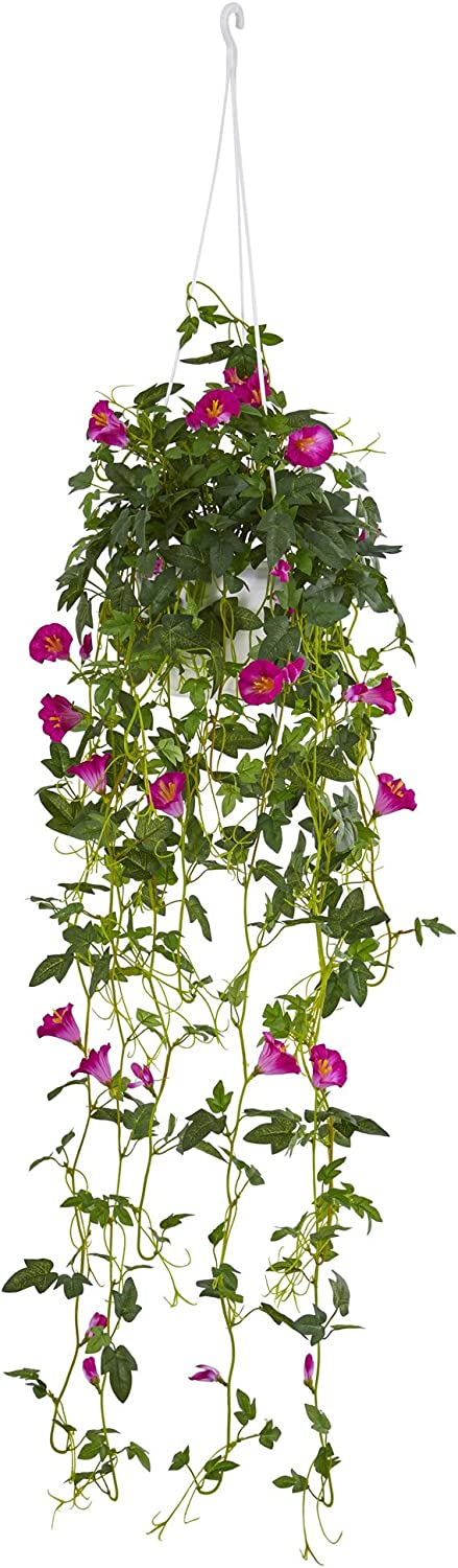 "Nearly Natural 30"" Petunia Hanging Basket Artificial Plant, Pink"