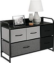 mDesign Vertical Dresser Storage Tower - Sturdy Steel Frame, Wood Top & Handles, Easy Pull Fabric Bins - Organizer Unit fo...