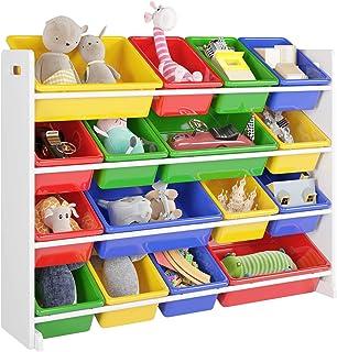 Homfa Estantería Infantil para Juguetes Organizador para Juguetes Almacenamiento Juguetes con 16 Cajas de 4 Niveles 105x23...