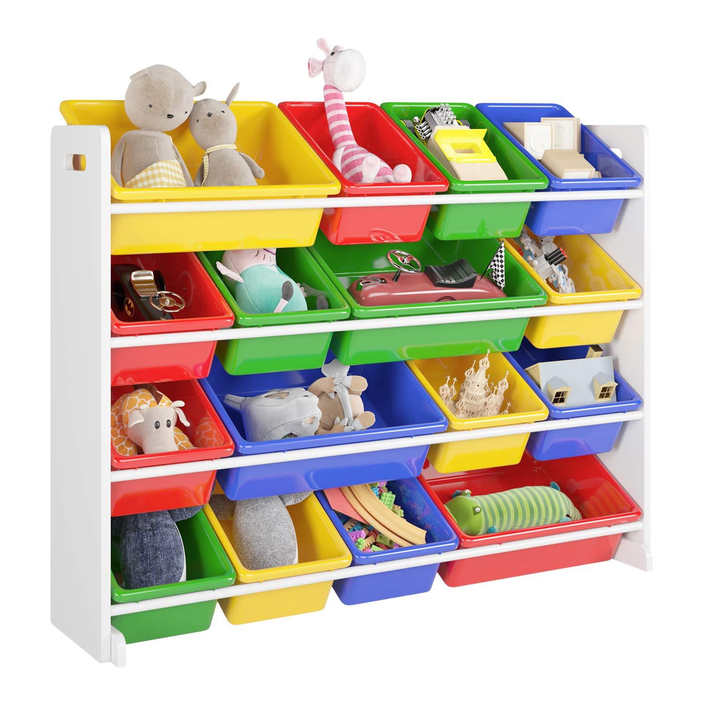 Homfa Etagere Pour Jouets Enfants Meuble De Rangement De 4 Etages Pour Chambre D Enfant 106 23 80cm Blanc Amazon Fr Cuisine Maison