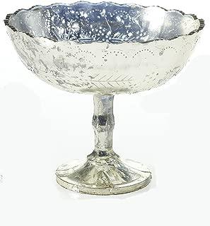 Afloral Silver Mercury Glass Desiray Pedestal Bowl