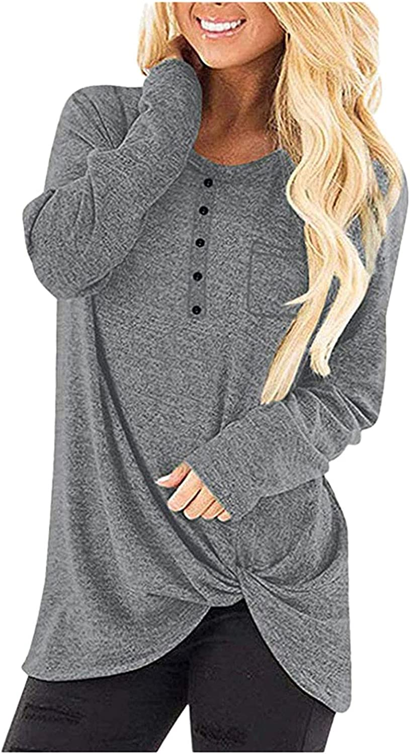 Womens Plus Super-cheap Size Tunic Tops Twist Max 64% OFF Crew Sh Neck Sleeve Long Front