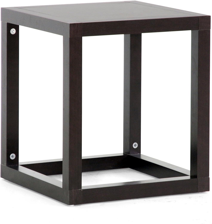 Baxton Studio Hallis Modern Accent Table & Nightstand, 18  x 15.8  x 15.8 , Dark Brown