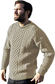 Traditional Wool Crew Neck Aran Sweater