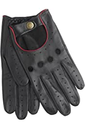 Berry Red Dents Mens Snetterton Cut Off Finger Leather Driving Gloves