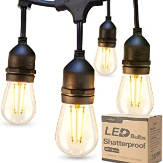 addlon LED Outdoor String Lights 48FT with 2W Dimmable Edison Vintage Shatterproof Bulbs and Commercial Grade Weatherproof...