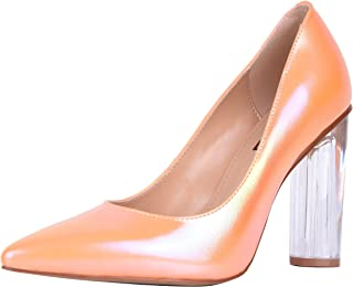 SOPHITINA Round Clear High Heeled Women Pumps Sexy Pointed Toe Pearl Shining Leather Pumps Party Wedding Dress Shoes
