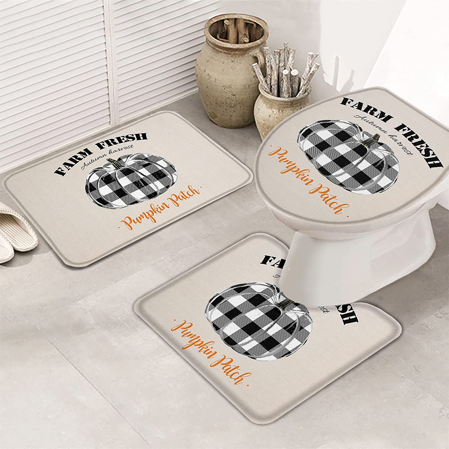 3 Piece Set Limited time sale Bathroom Rugs for Pumpkin Plaid Re Black Watercolor New item