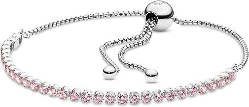 PANDORA Sparkling Strand Bracelet, Sterling Silver, Pink Cubic Zirconia, 9.1 in