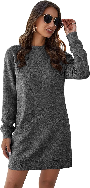 Milumia Women's Casual Crewneck Long Sleeve Solid Short Sweatshirt Dress with Pocket