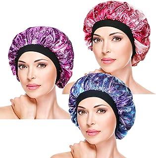 ASHILISIA 3 Pieces Soft Sleep Cap – Night Satin Bonnet with Wide Premium Elastic Band for Women