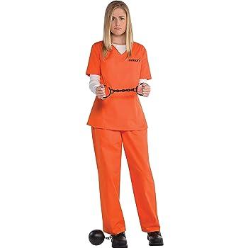 amscan- Orange Prisoner Shirt and Pants for Adults-Standard Camisa ...