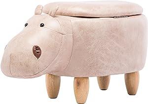 IntimaTe WM Heart Reposapiés Animado, Escabel Creativo para Niños, Taburete Animal Almacenamiento, Baúl Dibujos de Madera (Hipopótamo - Beige)