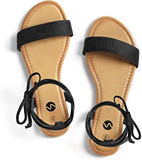 Open Toe Tie Up Ankle Wrap Flat Sandals for Women