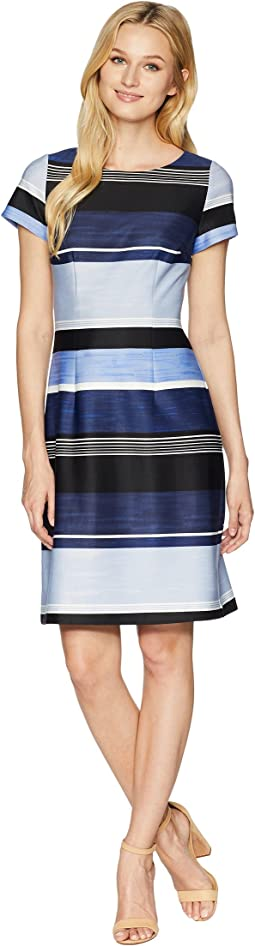 Brush of Stripe Printed A-Line Dress