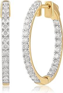 Diamondmuse Inside-Out Diamond Hoop Earring in 14K Gold (1/4-2.00 Carat) (I-J Color, I2-I3 Clarity)