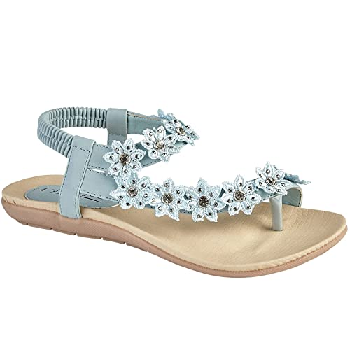 ea06ebe0cc09 Jo   Joe Ladies Faux Leather Toe Post Sling Back Flower Fashion Flat  Diamante Flip Flop