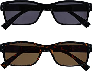 The Reading Glasses Company 2 Pack Mens grote zwart bruin schildpad zon lezers UV400 lente scharnieren SS11-12 +2.00