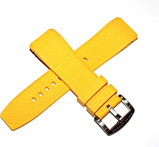 Swiss Legend 26MM Yellow Silicone Watch Strap and Silver Stainless Buckle Fits 47mm Sprinter Watch