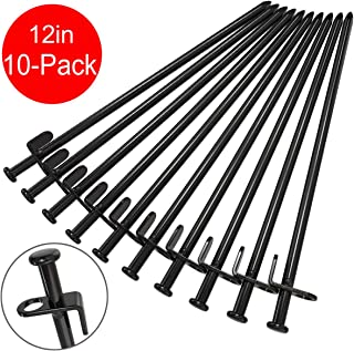 BareFour Tent Stakes Heavy Duty 12-Inch, Camping Stakes Forged Steel Tent Pegs Unbreakable and Inflexible - Available in Rocky Place Dessert Snowfield and Grassland (Black)